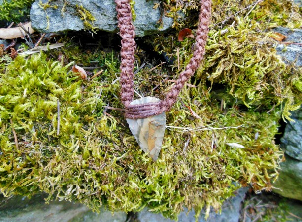 Brown Hemp Arrowhead Necklace