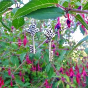 Silver Key Earrings