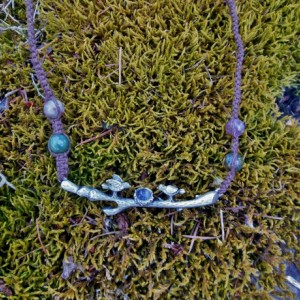 Birds on a Branch Brown Hemp Necklace