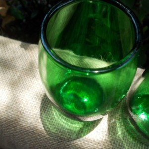 Set of Two Green Juice GlassesRepurposed Perrier Bottles, Recycled and Upcycled into Juice Glasses
