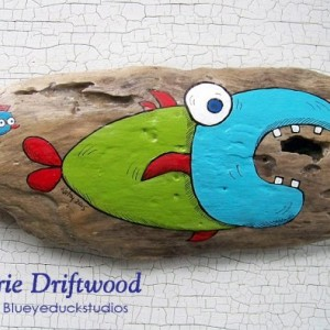 Dental Assistants Dentist Visit Grinning Fish Folk Art hand painted driftwood