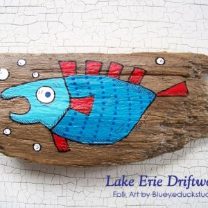 Professor Puffer Whimsical Driftwood Painting Fish Folk Art Original INTRO PRICING