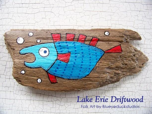 Professor Puffer Whimsical Driftwood Painting Fish Folk Art Original INTRO PRICING