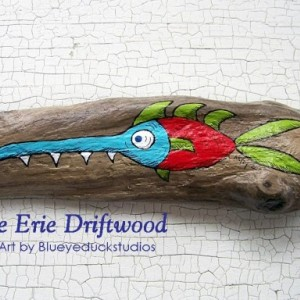"[SOLD] ""Spikes"" the Handyman Fish Dude Whimsical Driftwood Folk Art Painting"