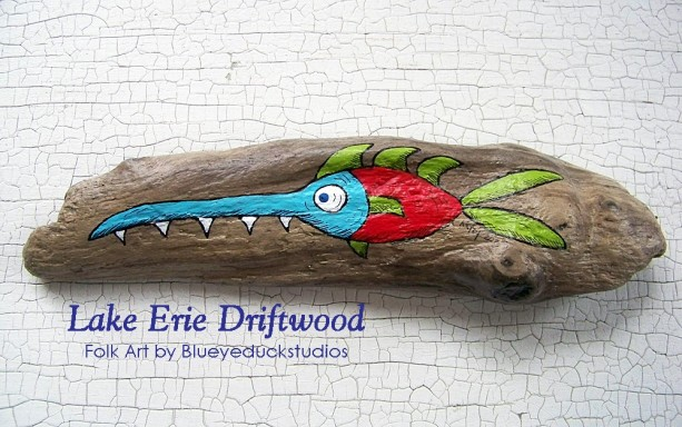 """[SOLD] """"Spikes"""" the Handyman Fish Dude Whimsical Driftwood Folk Art Painting"""