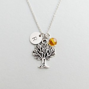 Tree Initial Necklace Personalized Hand Stamped - with Silver Tree Charm and Swarovski