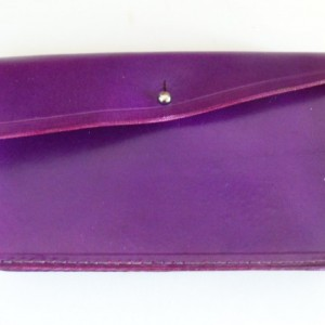 Purple Leather Clutch Purse with Matching Small Wallet