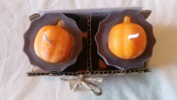 Set of two handmade 2.5 oz soy wax pumpkin votives
