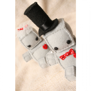 Plush Robot Wedding Cake Topper