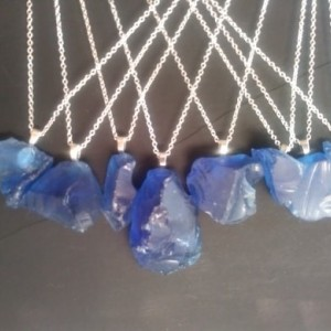 "18"" Chain Sea glass Cobalt Blue in color"
