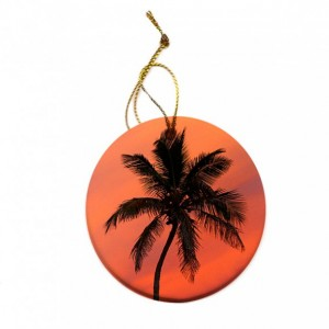 Palm Tree Sunset Porcelain Christmas Tree Ornament
