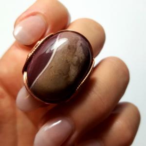 Mookaite Jasper Ring Size 7 - 8, Handmade Statement Rose Copper