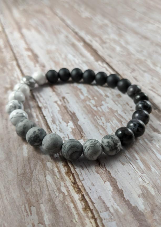 The Elijah | handmade beaded stretch bracelet, howlite beads, indigo gabbro, mystic merlinite, map jasper, men's / unisex, Gifts for Him