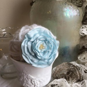 Ruffled Blue Rose Floral Brooch