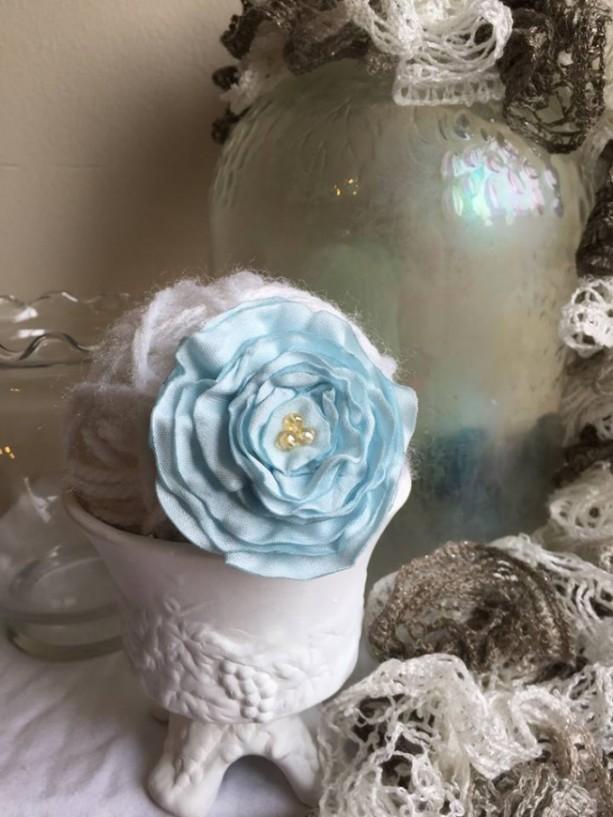 Ruffled Blue Rose Floral Brooch