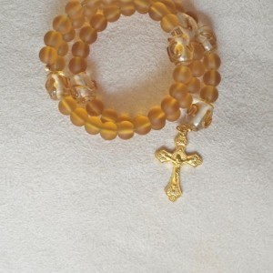 Rosary Bracelet of Matte Topaz Glass and Lampwork Beads
