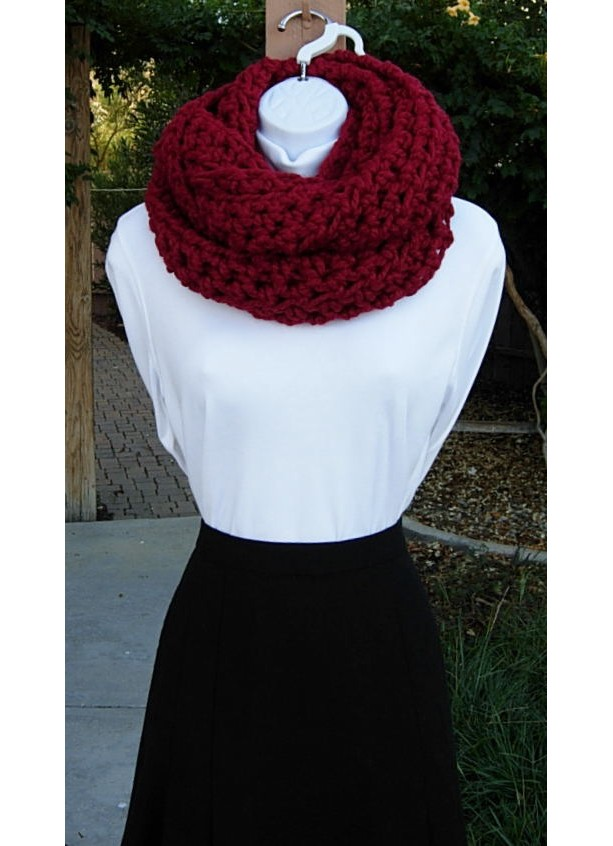 Large Dark Solid Red Crochet Knit Infinity Loop Cowl Scarf