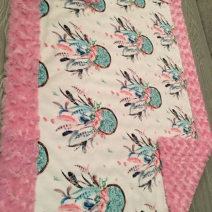 ShipsNow Dreamcatcher Minky Baby Blanket Pillow Boho Flower Girl