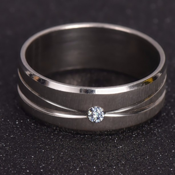 White Gold Plated Ring Stainless Steel