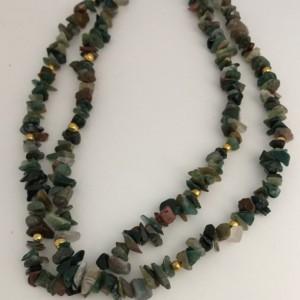 Double Strand Agate Chips, Two Layered Green Agate Necklace, Bead Chips Necklace