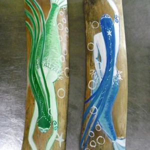Pair of Fantasy Mermaids  Hand Painted on Driftwood Bamboo-  Coastal Decor