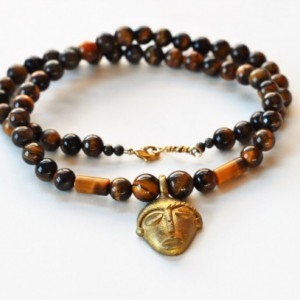 Men necklace, Africa necklace, African jewelry, Ethnic necklace, Men's tiger's eye necklace, Pendant necklace men, Gift for him, Stone beads