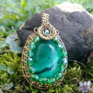 Malachite(Natural) Wire Weave Pendant / Czech Glass Bead Pendant / Natural Gemstone / Copper Wire Pendant / Festival Jewelry / Hippie Style