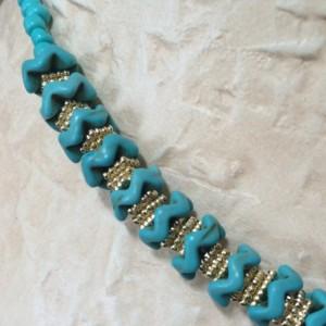 Turquoise Glass, Chevron Stone, Pendant Necklace