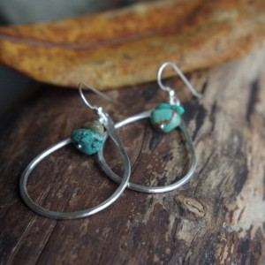 Oregon Raindrops - Large Fine Silver earrings - Hand forged Silver dangles with turquoise