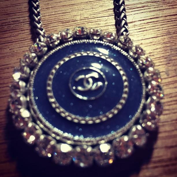 Denim Blue Designer Button Necklace