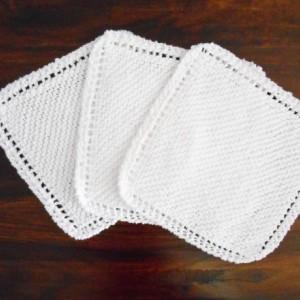 Knit White Cotton Dishcloths, Set of Three