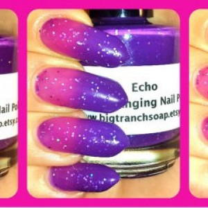 "Color Changing Thermal Nail Polish - ""Echo"" - Temperature Changing-Custom Blended Polish/Lacquer - 0.5 oz Full Sized Bottle"