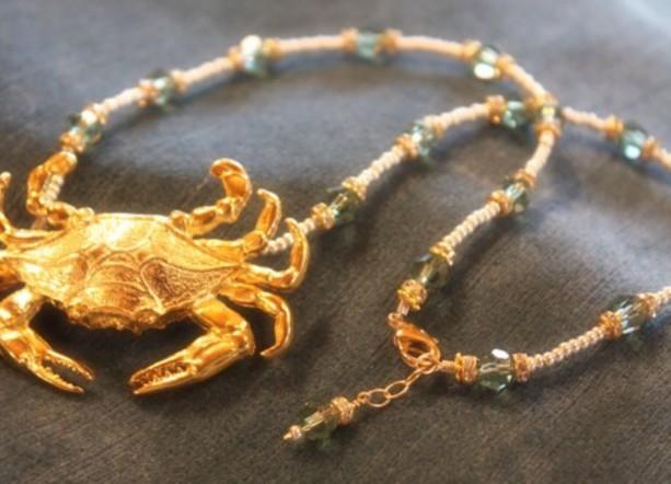 Golden Crab Beachcomber anecklace