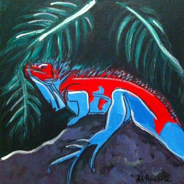 Mexican Folk Art - IGUANA - PRINT Signed By Artist A.V.Apostle