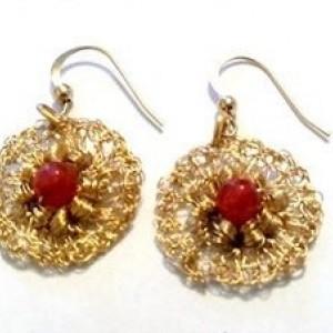 Gold Crocheted Floral Earrings, Mesh Earrings, Jade Earrings, One of a Kind Earrings, Unique Earrings, Beaded Jewelry Sale, Gift for Sister