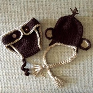 Newborn Monkey Hat and Diaper Cover Set
