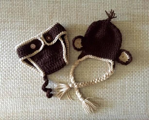 Newborn Monkey Hat and Diaper Cover Set
