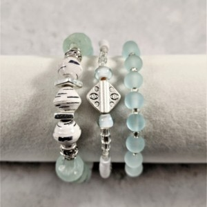 The Skyra | handmade recycled seafoam glass and paper bead stretch bracelet stack, vinyl discs, Mykonos ceramic, Miyuki beads, Gifts for Her