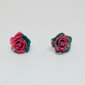 Pink resin rose pendant and rose studs Romantic Gift for Women