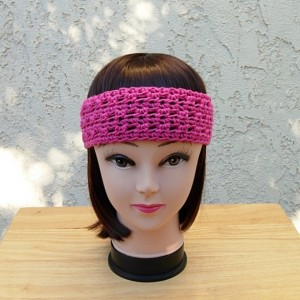 Women's Solid Hot Pink Summer Headband, Lightweight 100% Cotton Lacy Crochet Knit Boho Festival, Dark Bright Pink, Ready to Ship in 3 Days