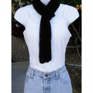 Women's Solid Black Lacy SUMMER INFINITY SCARF Small Cowl, Extra Soft Skinny Lightweight Crochet Knit Endless Loop, Lace Neck Tie..Ready to Ship in 2 days