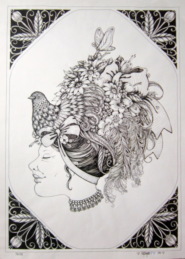 Pen & Ink Drawing of lady in an elaborate, fantastical HAT!