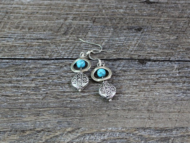Turquoise and Silver Lentil Dangle Earrings