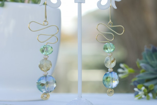 Gold Swirls, Faceted Green and Blue Round Glass Earrings