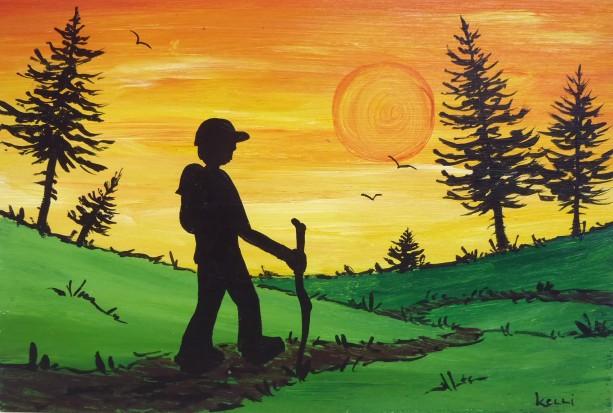 """Enjoying the Outdoors"" original painting"