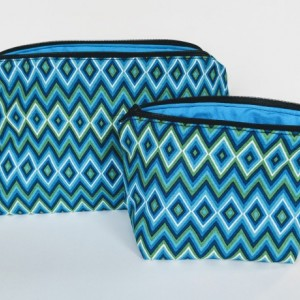 Large Zig Zag Matching Travel Bag, Travel Cases, Zipper Bag, School Supply Bag, Teacher Gift, Gift under 20