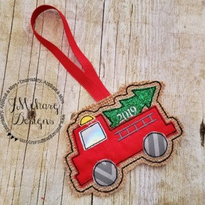 Buy 3 Get 1 Free Custom Embroidered Christmas Firetruck Ornament