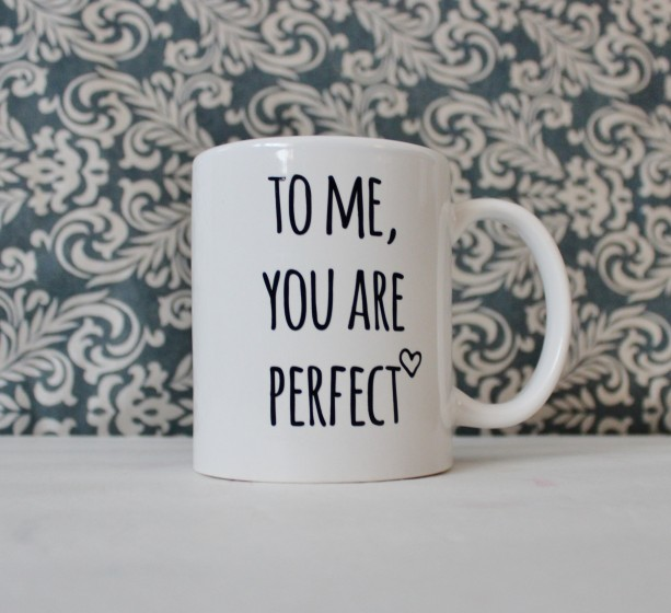 To Me You Are Perfect - inspired by Love Actually, cute coffee cup, mug, pencil holder, catch-all - Ready to Ship