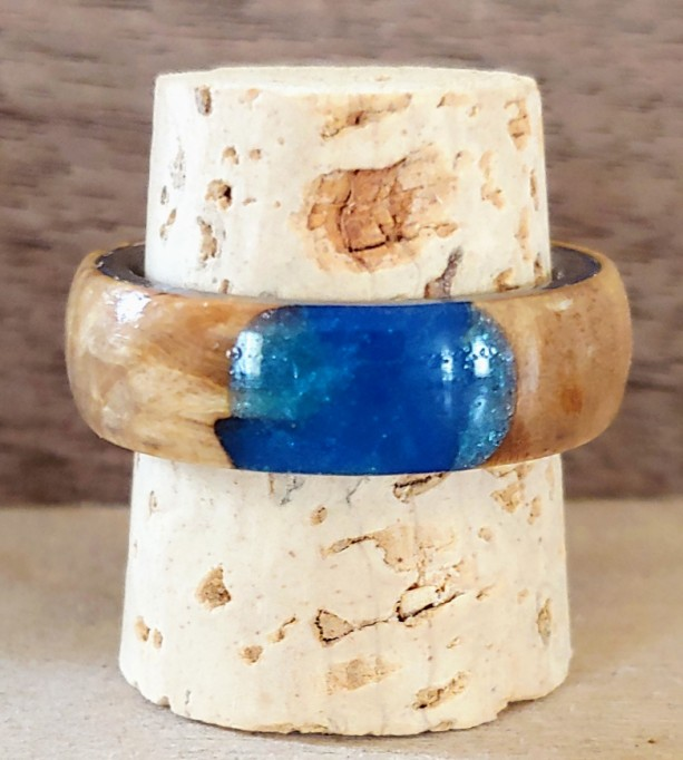 Maple burl and blue resin Ring