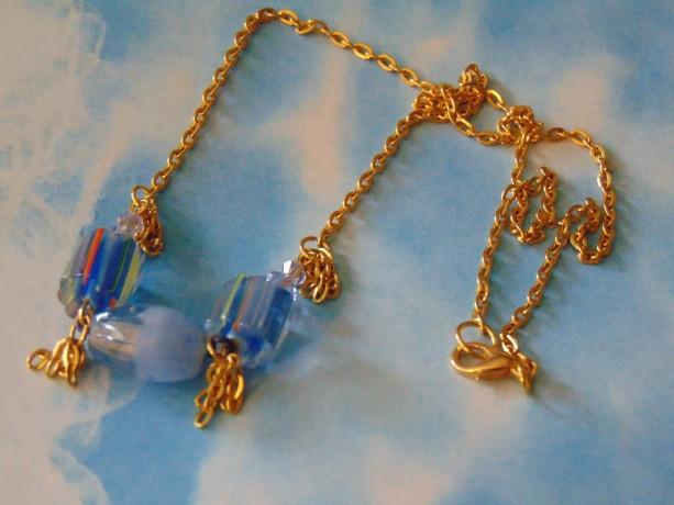 Blue Orange Yellow Striped Lampwork Bead Light Blue Swarovski Crystal Golden Chain Piece Golden Chain Necklace